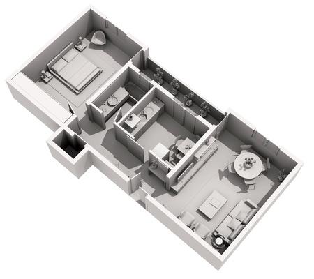 Modern interior design - 3d home project Stock Photo - 13615617