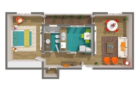 Modern interieur - 3D home-project - gesmolten gezellig appartement 3D doorsnede Vintage en moderne meubels