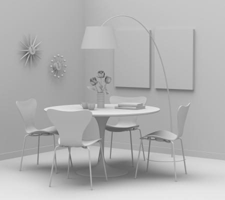 Home interior design, retro furniture  Clay render