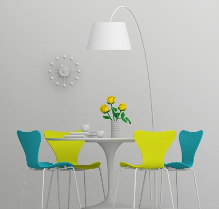 Home interior design, retro furniture  Clay render with color