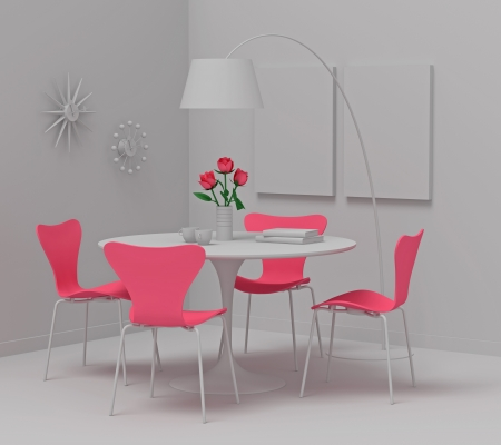Home interior design, retro furniture  Clay render with pink color