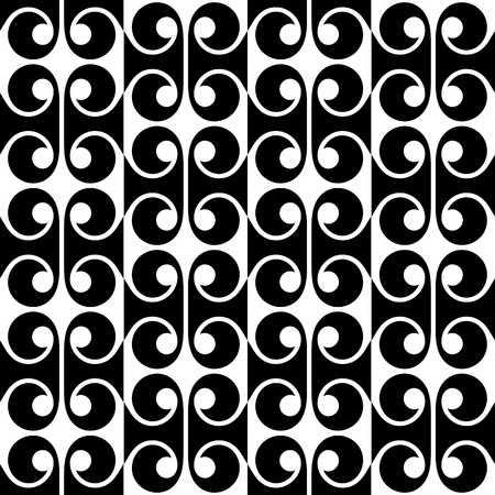 Seamless pattern. Geometric retro design with swirls, black and white. Easy to use, just click on the swatches to fill your shapes with the pattern. Illustration