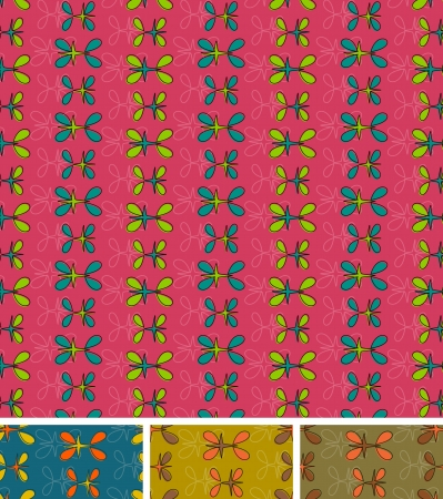 Seamless abstract pattern. Set of four, pink blue brown mustard.Easy to use, just click on the swatches to fill your shapes with the pattern.