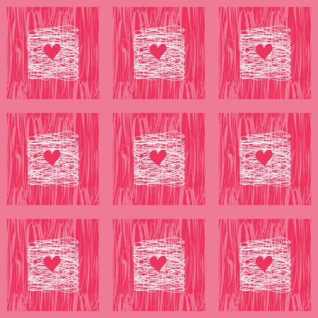 Doodle Squares Seamless Pattern With hearts. Pink Backdrop Illustration