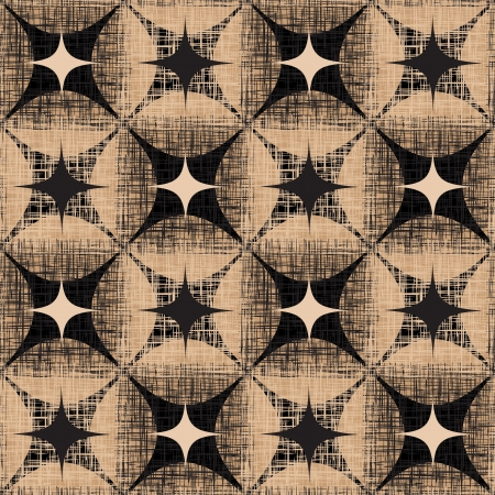 Grunge Abstract Seamless Pattern  Checkered Beige And Black