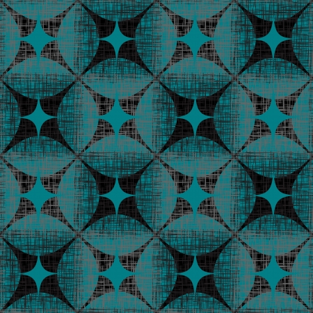 Grunge Abstract Seamless Pattern  Checkered, Turquoise And Black