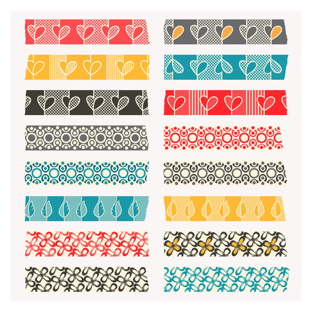 Set of washi tape. Black, gray and colored stripes. Layered and easy to edit. Each element is individually grouped. No gradients or transparencies used.