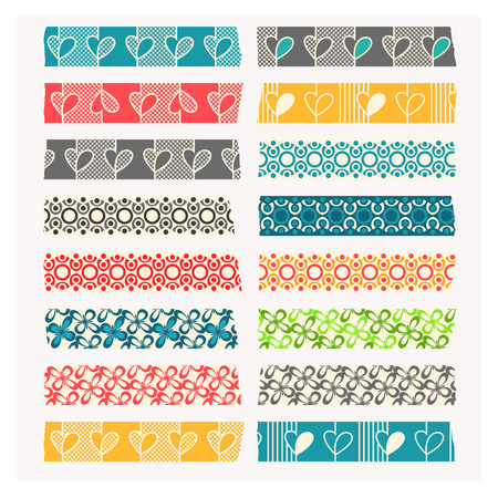 Washi tape. Set of black, gray and colored stripes. Layered and easy to edit. Each element is individually grouped. No gradients or transparencies used. Illustration
