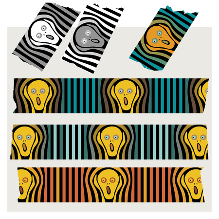 Washi Tape Stripes - The Scream, black, gray and colored. Illustration
