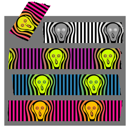 Washi Tape September The Scream, fluorescent colors and black stripes