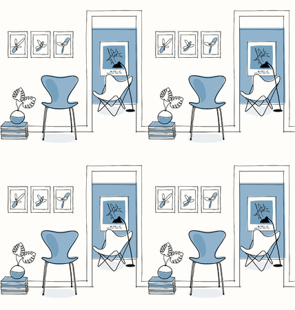 Home interior, hallway. Design icons, butterfly chair seamless pattern, blue. Illustration