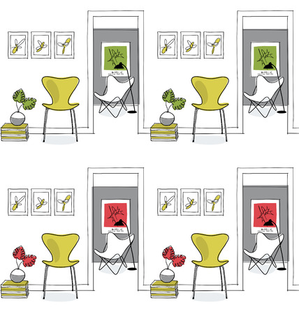 hallway: Home interior, hallway. Design icons, butterfly chair seamless pattern, green Illustration