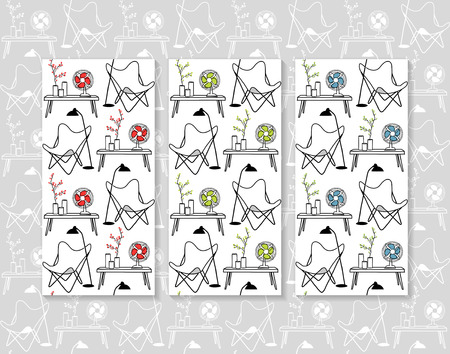 Set of butterfly chair and design objects seamless patterns. Hand drawn vector backgrounds.Sketches of home interiors details with vintage and contemporary furniture, accessories and objects.Four group of color combinations for the backgrounds, one gray a Illustration