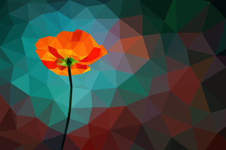 Turquoise background with poppy. Triangular poppy on polygonal background with copy space. Turquoise and dark red and gray abstract wallpaper. Low poly geometrical design. No transparency.
