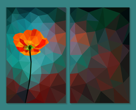 Red poppy on low poly abstract turquoise wallpaper. Triangular vertical banners in September Dark gray background. All design elements are on different layers, grouped. Transparency only for shadow.