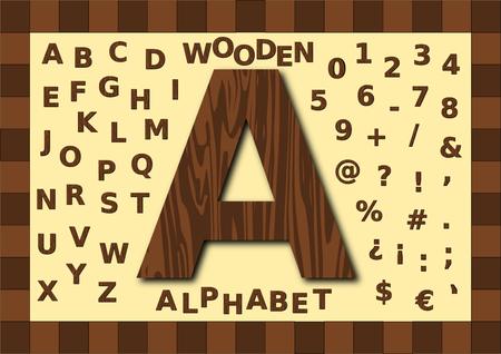 uppercase: Wooden texture alphabet, uppercase