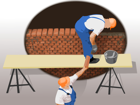 Wall construction workers Illustration