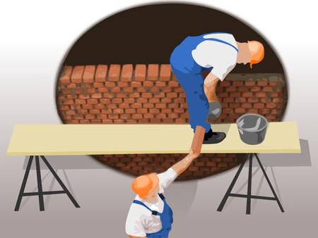 jobsite: Wall construction workers Illustration