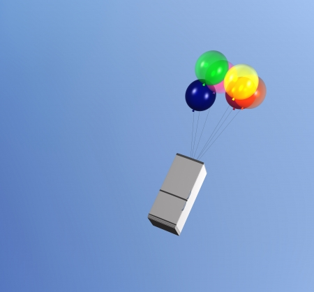 light food concept  flying refrigerator dragged by a bunch of balloons in the sky photo