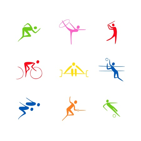 athletes sihlouettes vector Vector