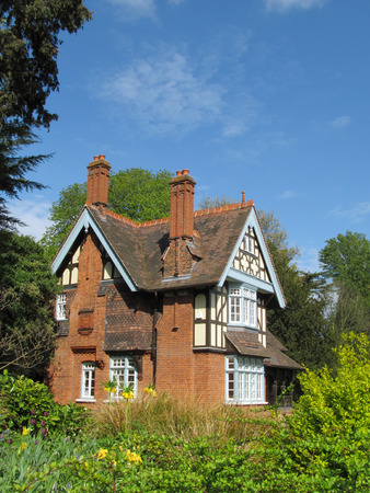 English half-timbered cottage NOTE FOR THE EDITOR  The specific building  College Gate Lodge in Dulwich Park, London  is a PUBLIC SECTOR PROPERTY, belonging to Southwark Council and NO PROPERTY RELEASE IS REQUIRED