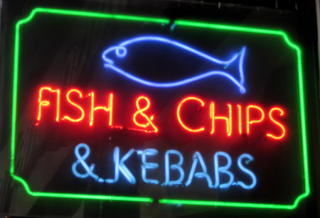 Fish and Chips neon sign photo