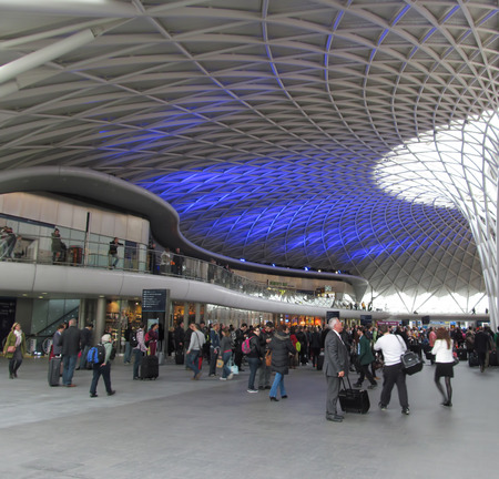 Kings Cross railway station concourse with the new illuminated canopy