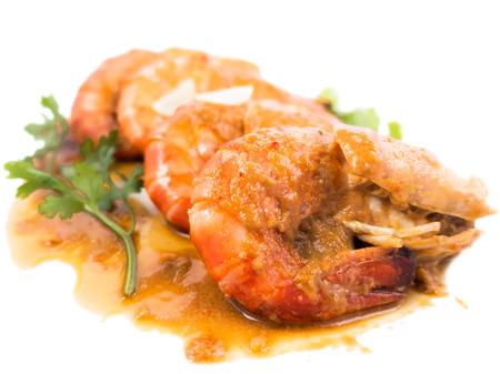 camaron: Mariscos con camarones en salsa de tamarindo que favorecen en Tailandia y Asia. Foto de archivo