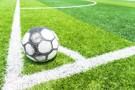 sports field: Sport Field With Artificial Turf for playing soccer or futsal . Stock Photo