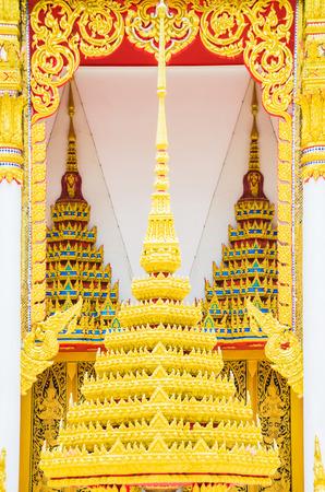 southeast asian ethnicity: The art design of temple Golden roof, Bangkok, Thailand.  Stock Photo