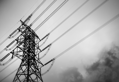 telecommunications equipment: Technology of electric pole, power line and cables. Stock Photo