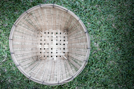 basketry: Bamboo pattern and grass  basketry handmade. Stock Photo