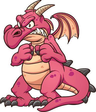 drago alato: Dragon Angry Vector clip art illustrazione con semplici gradienti Tutto in un unico strato