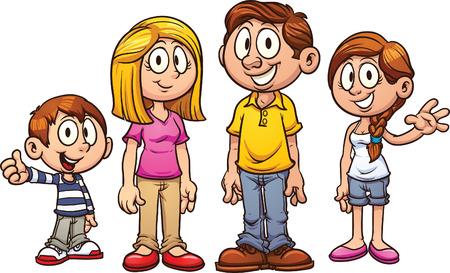 별도의 레이어에 간단한 그라데이션 각 만화 가족의 벡터 일러스트 레이 션 일러스트