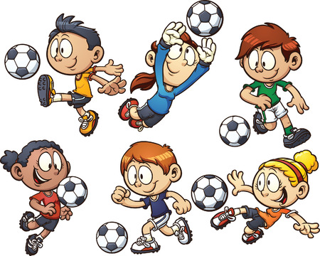 girl kick: Cartoon kids playing soccer