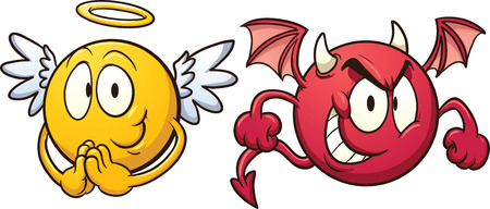 devil cartoon: Angel and devil emoticons  Illustration