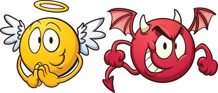 diavoli: Angelo e diavolo emoticon Vettoriali