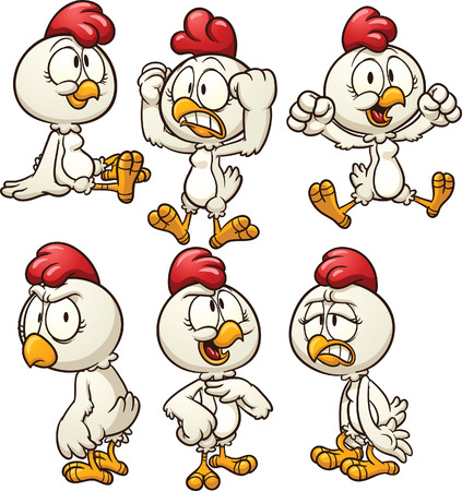Cute cartoon hen in different poses