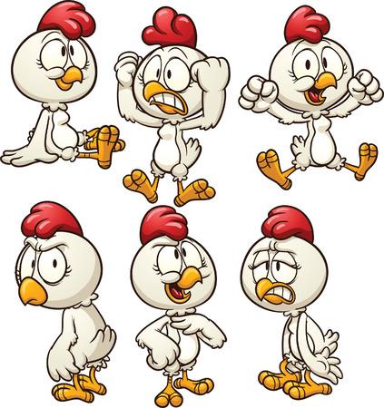 pollo caricatura: Gallina linda de la historieta en diferentes poses