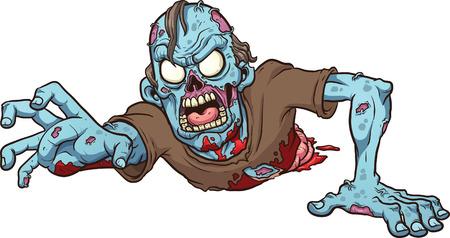 zombie cartoon: Cartoon crawling zombie   Illustration