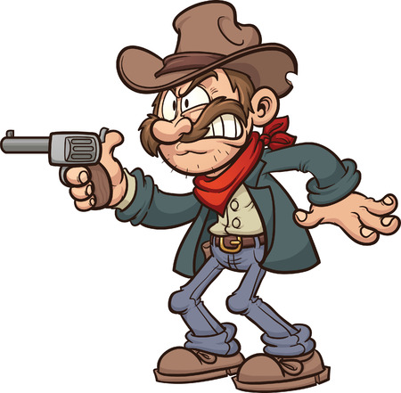 shooting gun: Cartoon gunslinger cowboy