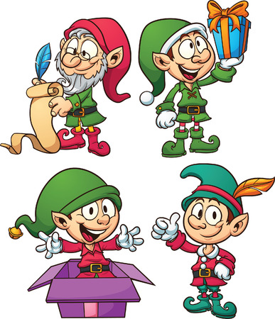 Cartoon Christmas elves