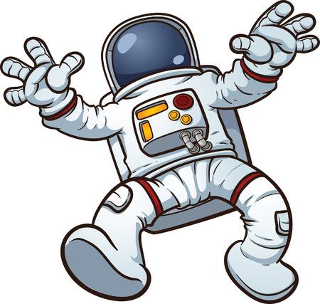 astronauta: Astronauta clip art Vector ilustraci�n de dibujos animados con pendientes sencillos Todo en una sola capa