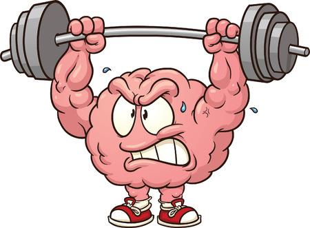 levantamiento de pesas: Fuerte pesas cerebro clip art Vector ilustraci�n de dibujos animados con pendientes sencillos Todo en una sola capa Vectores