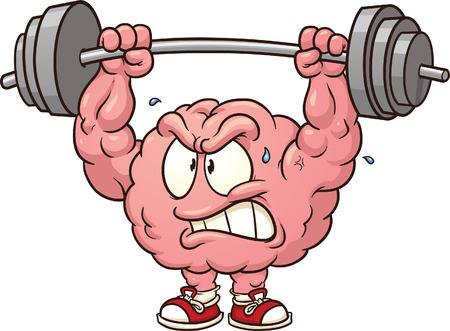 weight weightlifting: Strong weightlifting brain clip art  Vector cartoon illustration with simple gradients  All in a single layer  Illustration