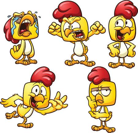 pollo caricatura: Pollo de dibujos animados en diferentes poses Vector de imágenes prediseñadas ilustración con gradientes simples cada pose en una capa separada