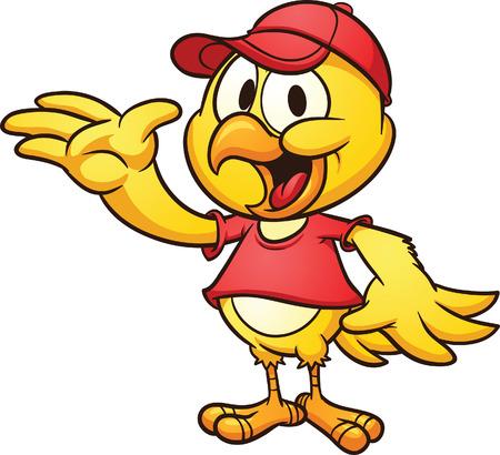 Klip umění roztomilý kreslený kuře na sobě baseball klobouk vektor kreslené ilustrace s jednoduchými gradienty vše v jedné vrstvě