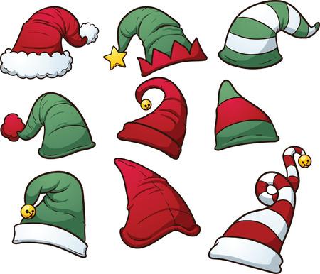 cartoon elfe: Weihnachtsm�tzen Clip Art