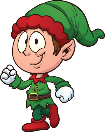 dwarf christmas: Christmas elf clip art  Vector cartoon illustration with simple gradients  All in a single layer