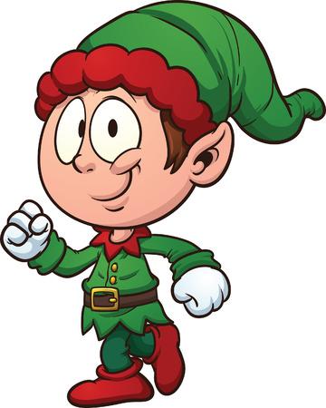 elf christmas: Duende de la Navidad del arte de clip Vector ilustraci�n de dibujos animados con degradados simples Todo en una sola capa Vectores